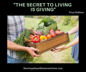Tony Robbins Quote - The Secret to Living is Giving